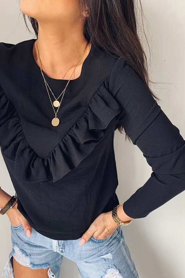 Lovely Casual Flounce Design Black Blouse