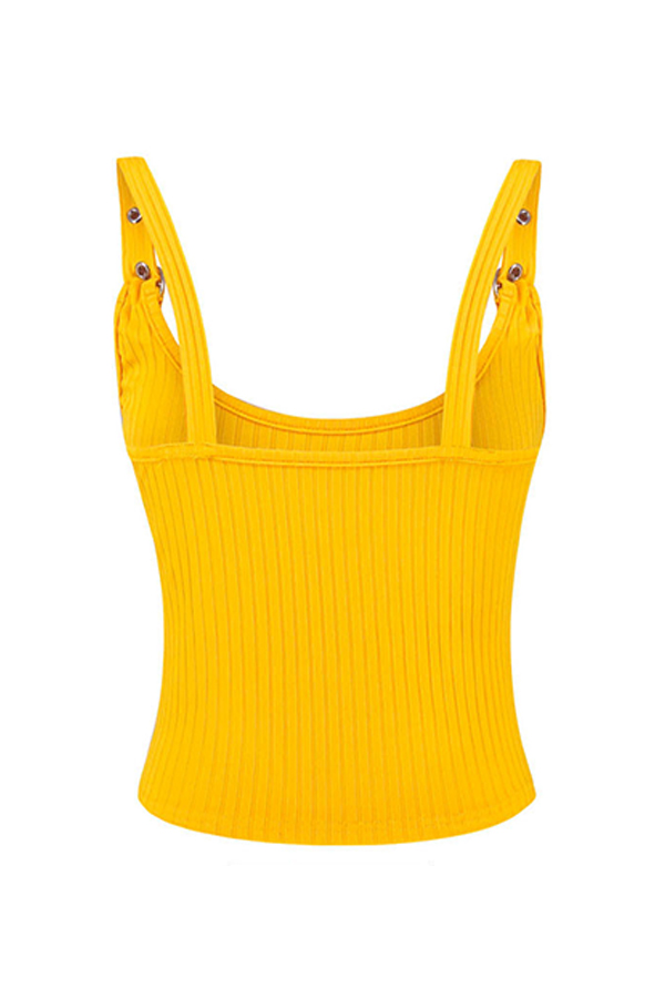 Lovely Casual Spaghetti Straps Yellow Camisole