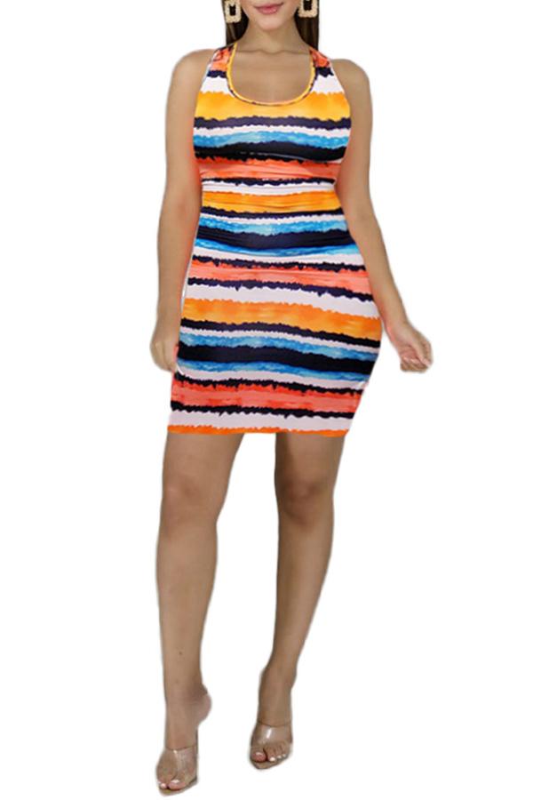 Lovely Trendy U Neck Printed Multicolor Mini Dress