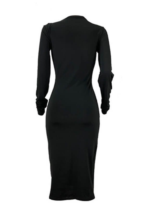 Lovely Casual Hollow-out Black Mid Calf Dress