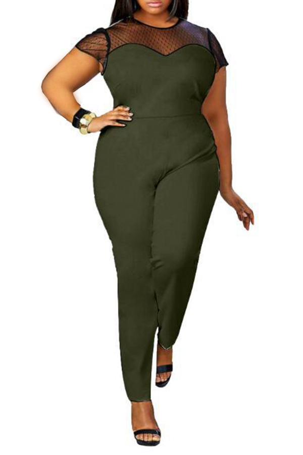 Lovely Casual Patchwork Green Plus Size One-piece Jumpsuit