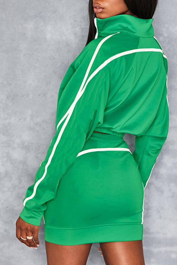 Lovely Sportswear Striped Green Two-piece Skirt Set