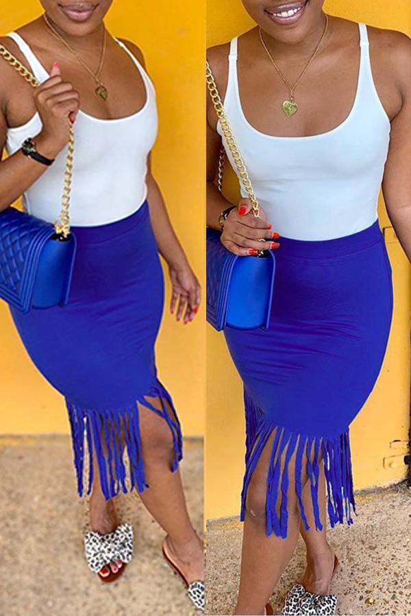 Lovely Sweet Tassel Design Blue Mid Calf Skirt