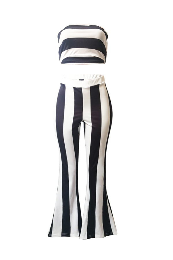 Lovely Casual Striped Black Two-piece Pants Set