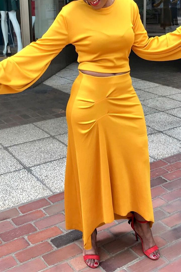 Lovely Casual O Neck Ruffle Yellow Two-piece Skirt Set