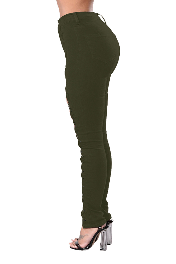 Lovely Trendy Hollow-out Bandage Design Army Green Pants