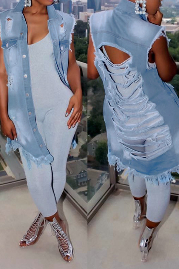 Lovely Trendy Turndown Collar Broken Holes Blue Denim Long Coat