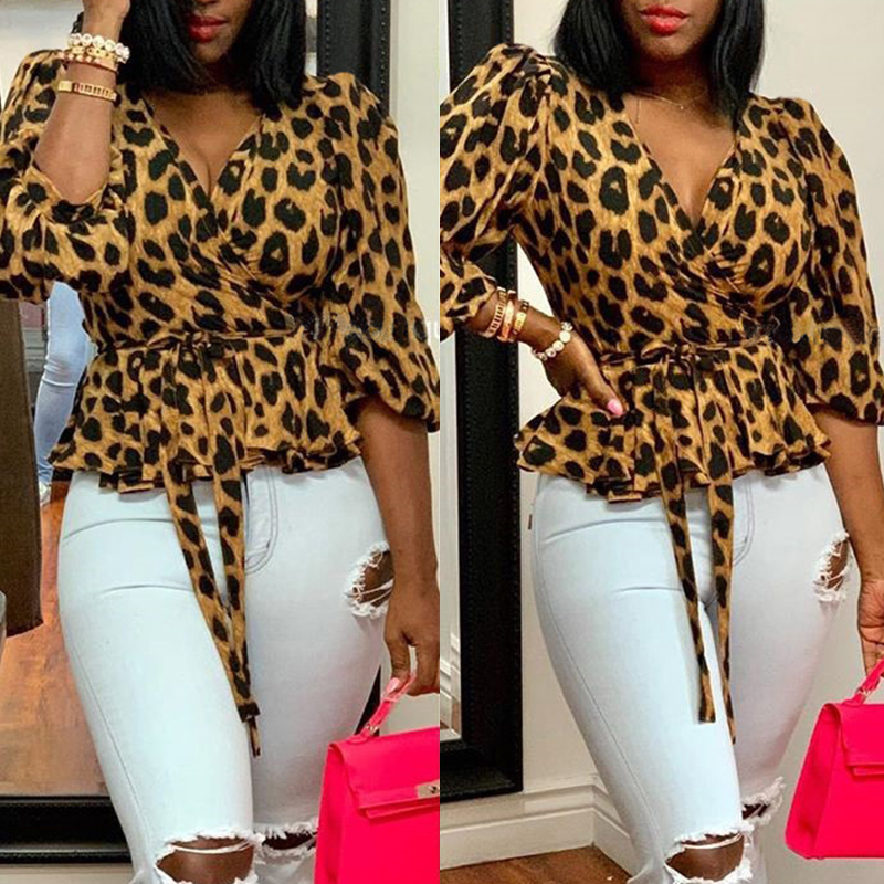 Lovely Casual V Neck Leopard Printed Brown Blouse