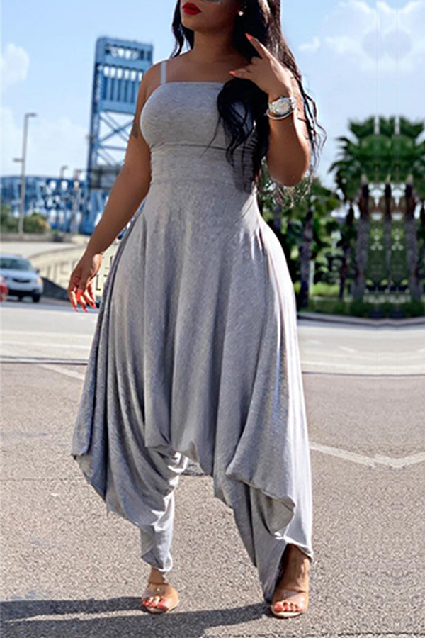 Lovely Trendy Loose Grey One-piece Jumpsuit фото
