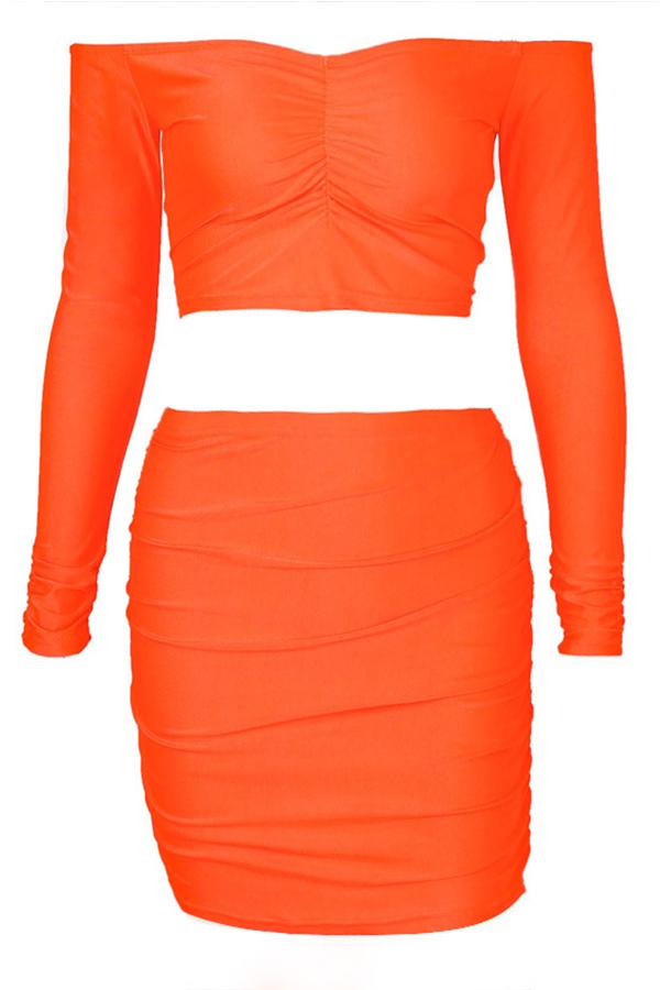 Lovely Casual Dew Shoulder Jacinth Two-piece Skirt Set