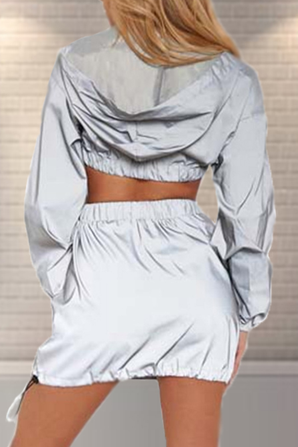 Lovely Casual Hooded Collar Grey Two-piece Skirt Set