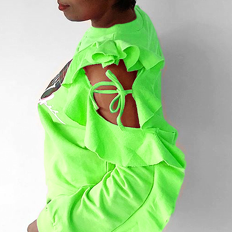 Lovely Casual Hollow-out Green Sweatshirt Hoodie