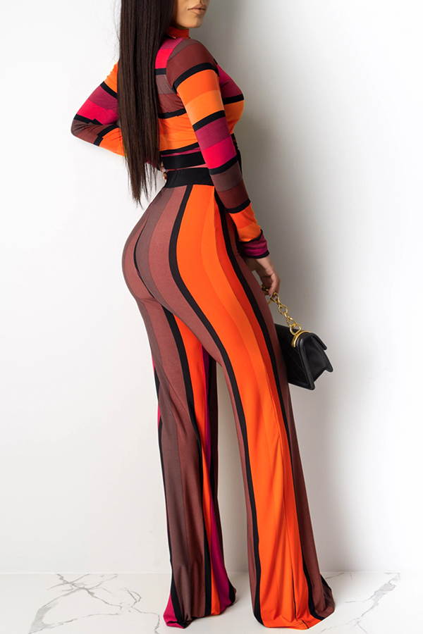 Lovely Casual Striped Knot Design Red Two-piece Pants Set