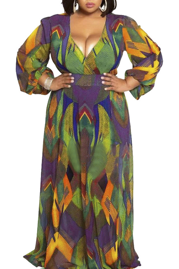 Lovely Casual V Neck Printed Green Floor Length Plus Size Dress