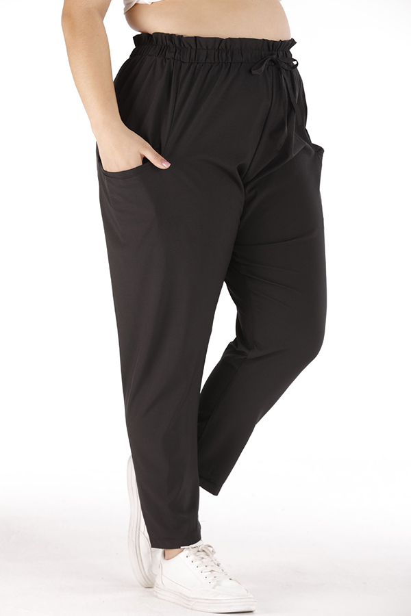 Lovely Casual Lace-up Black Plus Size Pants