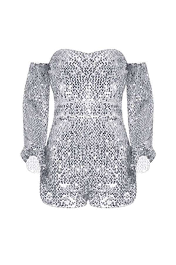 Lovely Sexy Sequined Design Sliver One-piece Romper