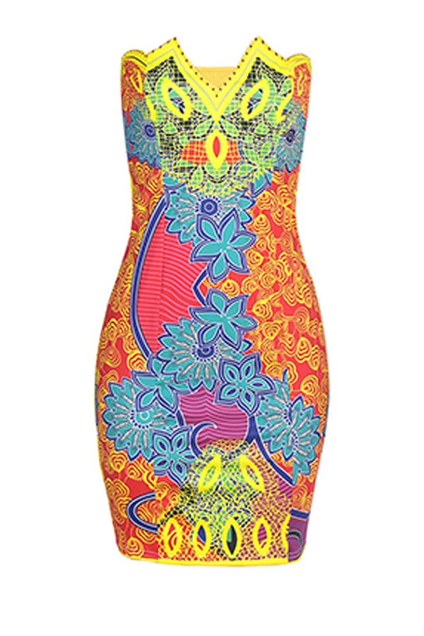 Lovely Ethnic Patchwork Printed Yellow Knee Length Dress