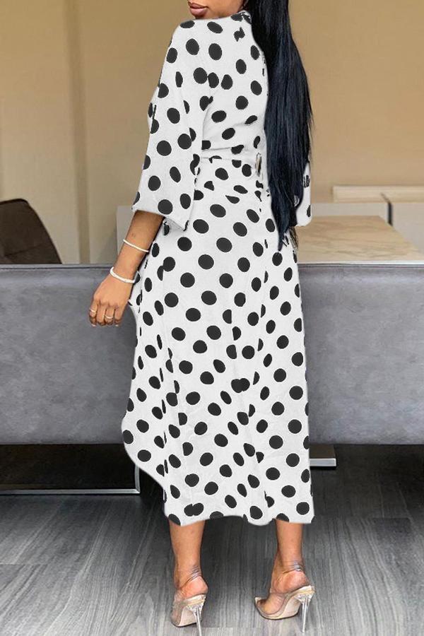 Lovely Sweet Dot Printed Side Slit White Mid Calf Dress
