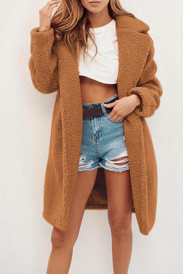 Lovely Trendy Winter Long Brown Coat