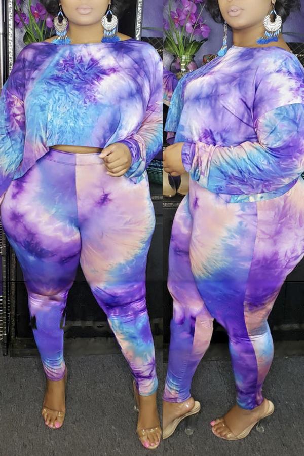 Lovely Casual Gradual Change Printed Purple Plus Size Two-piece Pants Set