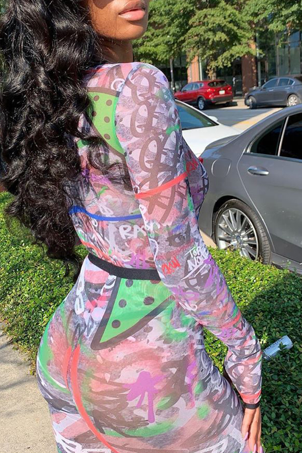 Lovely Sexy Printed Multicolor Two-piece Pants Set