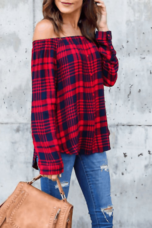 Lovely Euramerican Bateau Neck Grid Printed Red Blending Shirts