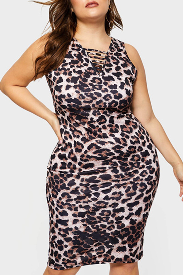 Lovely Casual Leopard Printed Plus Size Mini Dress