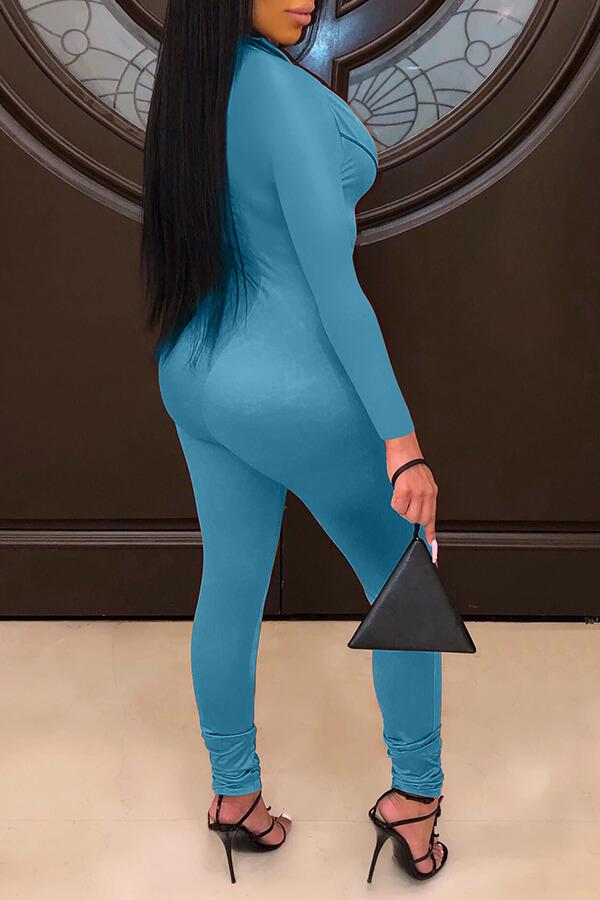 Lovely Casual Zipper Design Blue One-piece Jumpsuit