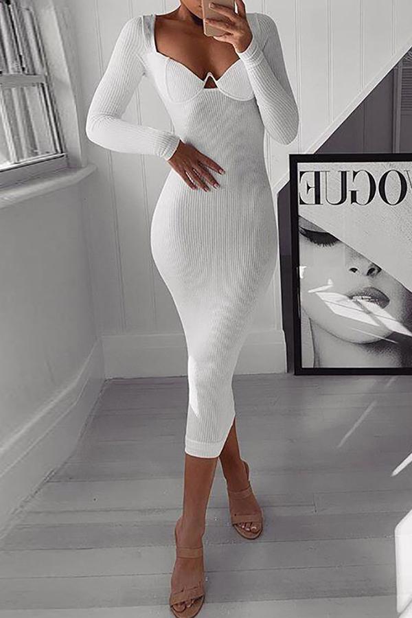Lovely Casual Deep V Neck White Mid Calf Dress