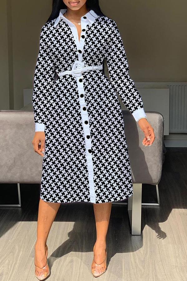 Lovely Casual Printed Black Mid Calf Shirt Dress