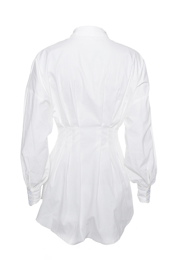 Lovely Sweet Turndown Collar White Mini Dress