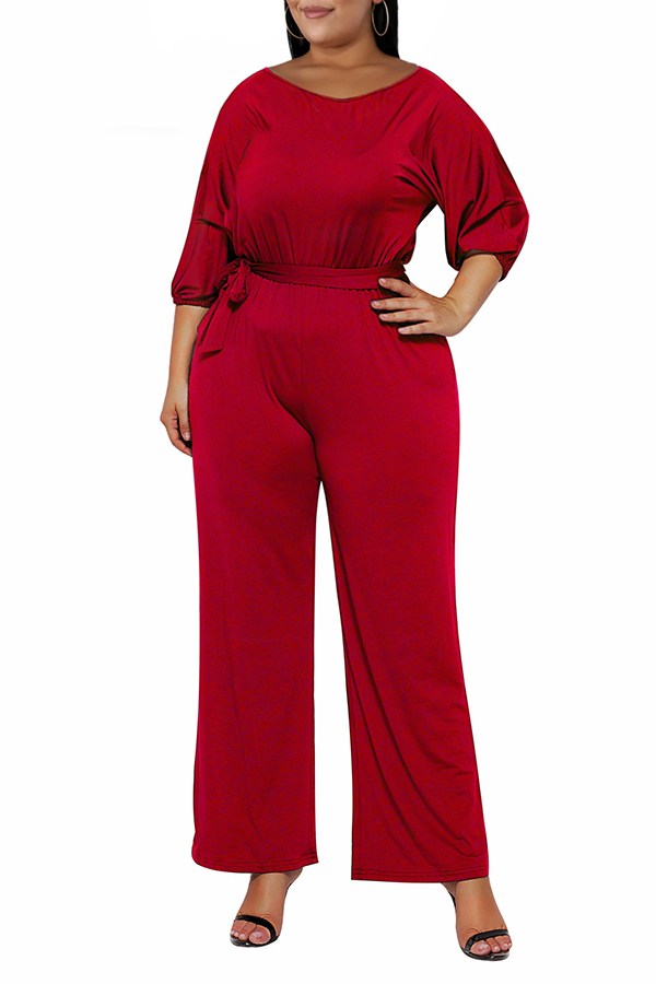Lovely Casual Hubble-bubble Sleeves Red Plus Size One-piece Jumpsuit