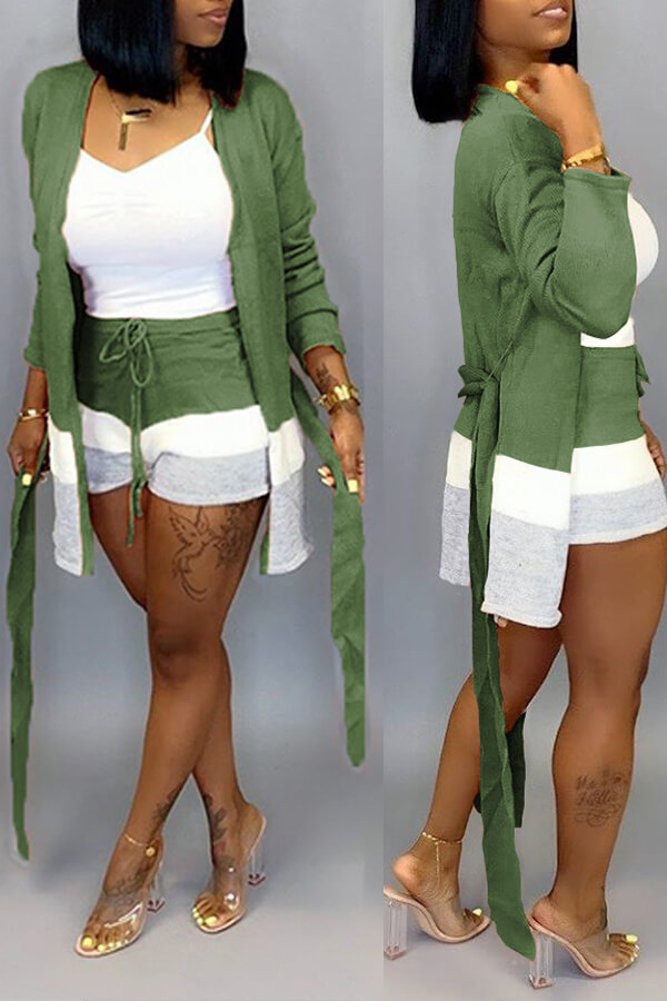 Lovely Casual Patchwork Green Two-piece Shorts Set(Without Tank Top)