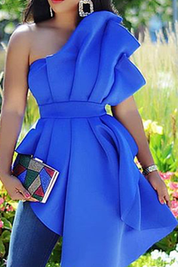 Lovely Trendy One Shoulder Blue Blouse