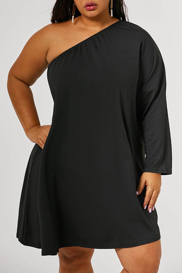 Lovely Casual One Shoulder Black Knee Length Plus Size Dress