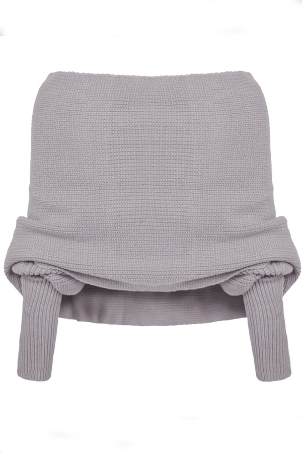 Lovely Leisure Cross-over Design Grey Sweaters