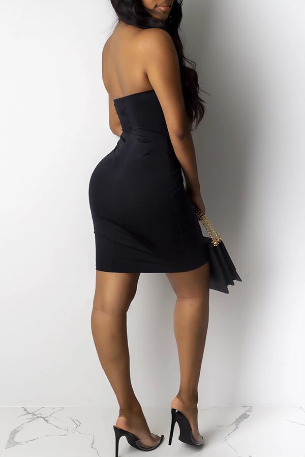 Lovely Sexy Tassel Design Black Mini Dress
