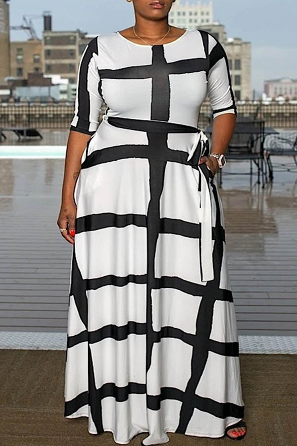 Lovely Casual Plaid Printed White Ankle Length Plus Size Dress