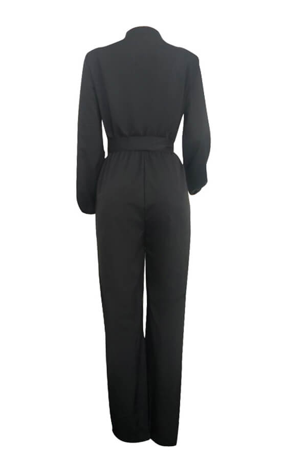 Lovely Work Lace-up Loose Black One-piece Jumpsuit