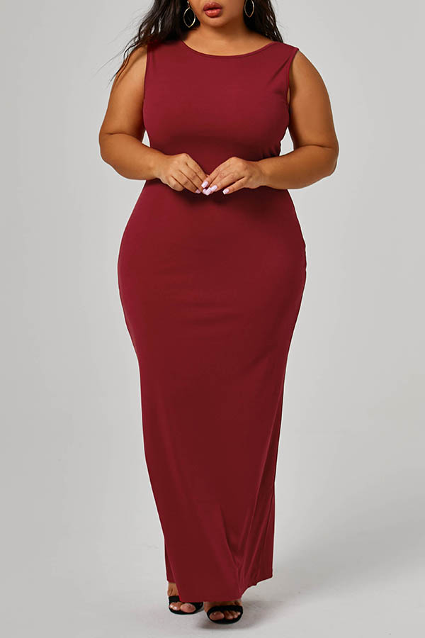 Lovely Casual Sleeveless Wine Red Ankle Length Plus Size Dress