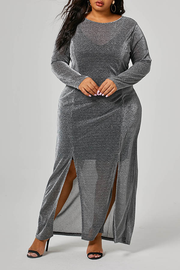 Lovely Trendy See-through Slit Silver Ankle Length Plus Size Dress