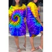 Lovely Leisure Tie-dye Yellow Knee Length Dress