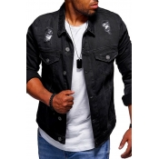 Lovely Casual Broken Holes Black Cowboy Wear