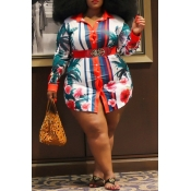 Lovely Casual Printed Red Plus Size Blouse
