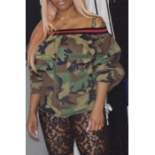 Lovely Casual Off The Shoulder Camouflage Printed