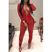 Lovely Stylish Sequined Decorative Red One-piece J