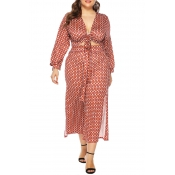Lovely Casual Printed Knot Design Red Plus Size Tw