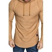Lovely Trendy Hooded Collar Khaki T-shirt