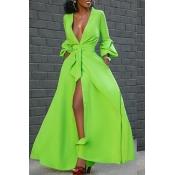 Lovely Casual V Neck Buttons Design Green Floor Le