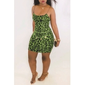Lovely Casual Printed Patchwork Green Mini Dress(W